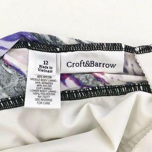 croft & barrow Swim - Gathered Purple One Piece Swimsuit